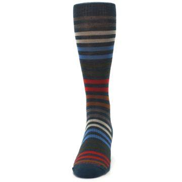 Image of Lochness Blue Stripe Wool Men's Casual Socks (front-05)