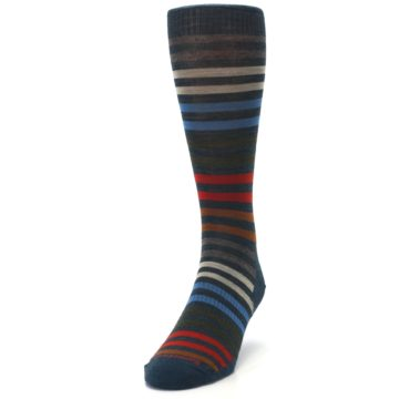 Image of Lochness Blue Stripe Wool Men's Casual Socks (side-2-front-06)