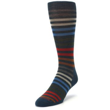 Image of Lochness Blue Stripe Wool Men's Casual Socks (side-2-front-07)