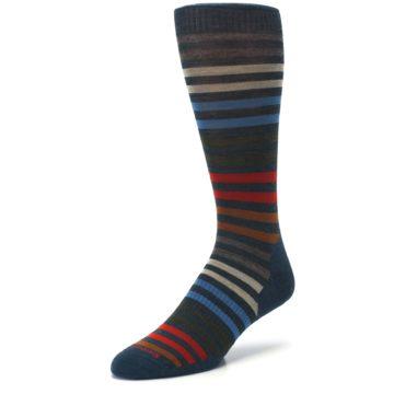 Image of Lochness Blue Stripe Wool Men's Casual Socks (side-2-front-08)
