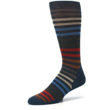 Image of Lochness Blue Stripe Wool Men's Casual Socks (side-2-09)