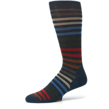 Image of Lochness Blue Stripe Wool Men's Casual Socks (side-2-10)