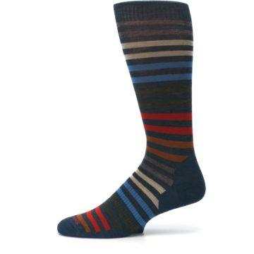 Image of Lochness Blue Stripe Wool Men's Casual Socks (side-2-11)