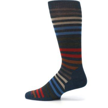 Image of Lochness Blue Stripe Wool Men's Casual Socks (side-2-12)