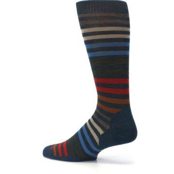 Image of Lochness Blue Stripe Wool Men's Casual Socks (side-2-13)