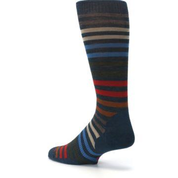 Image of Lochness Blue Stripe Wool Men's Casual Socks (side-2-back-14)