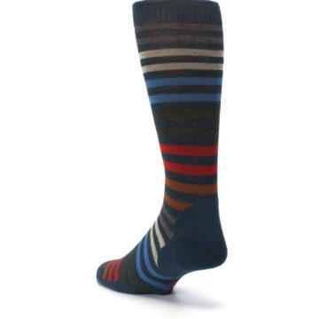 Image of Lochness Blue Stripe Wool Men's Casual Socks (side-2-back-15)