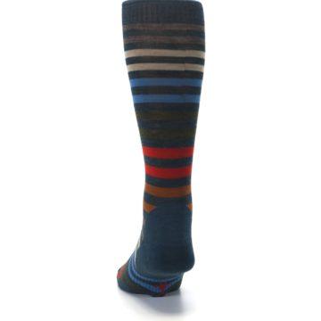 Image of Lochness Blue Stripe Wool Men's Casual Socks (back-17)