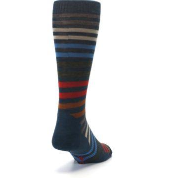 Image of Lochness Blue Stripe Wool Men's Casual Socks (side-1-back-20)