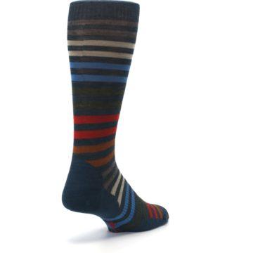 Image of Lochness Blue Stripe Wool Men's Casual Socks (side-1-back-21)