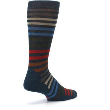 Image of Lochness Blue Stripe Wool Men's Casual Socks (side-1-back-22)