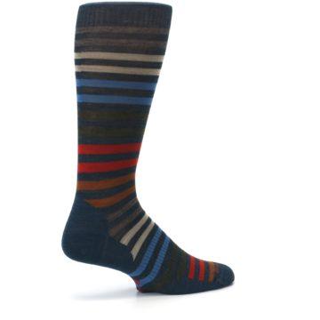 Image of Lochness Blue Stripe Wool Men's Casual Socks (side-1-23)