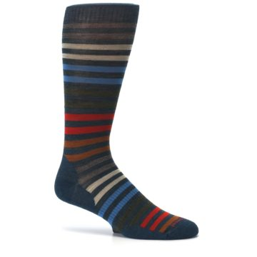 Image of Lochness Blue Stripe Wool Men's Casual Socks (side-1-25)