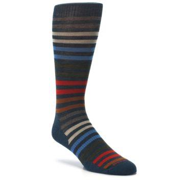 Image of Lochness Blue Stripe Wool Men's Casual Socks (side-1-27)