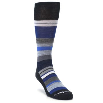 Image of Charcoal Blue Gray Stripe Wool Men's Casual Socks (side-1-front-02)