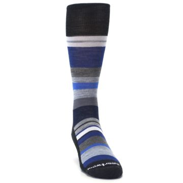 Image of Charcoal Blue Gray Stripe Wool Men's Casual Socks (side-1-front-03)