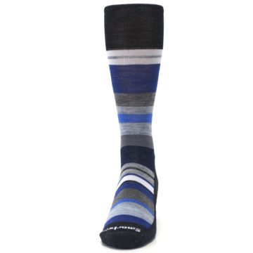 Image of Charcoal Blue Gray Stripe Wool Men's Casual Socks (front-05)
