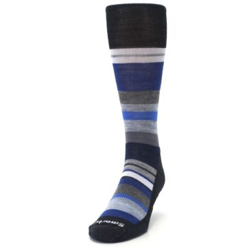 Image of Charcoal Blue Gray Stripe Wool Men's Casual Socks (side-2-front-06)