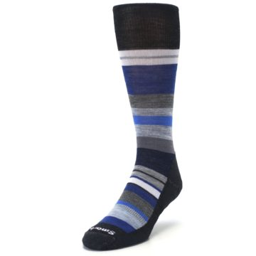 Image of Charcoal Blue Gray Stripe Wool Men's Casual Socks (side-2-front-07)
