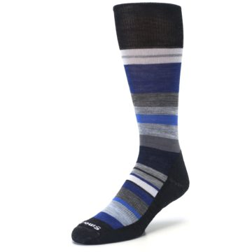 Image of Charcoal Blue Gray Stripe Wool Men's Casual Socks (side-2-front-08)