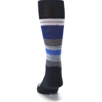 Image of Charcoal Blue Gray Stripe Wool Men's Casual Socks (back-17)
