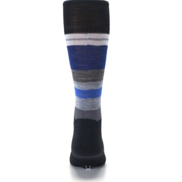 Image of Charcoal Blue Gray Stripe Wool Men's Casual Socks (back-18)