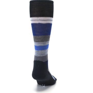 Image of Charcoal Blue Gray Stripe Wool Men's Casual Socks (back-19)