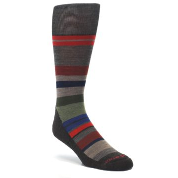 Chestnut-Red-Green-Stripe-Wool-Mens-Casual-Socks-Smartwool