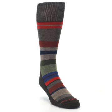 Image of Chestnut Red Green Stripe Wool Men's Casual Socks (side-1-front-02)
