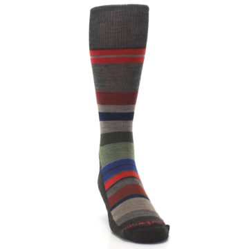 Image of Chestnut Red Green Stripe Wool Men's Casual Socks (side-1-front-03)