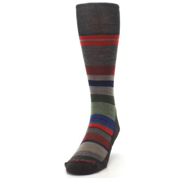 Image of Chestnut Red Green Stripe Wool Men's Casual Socks (side-2-front-06)