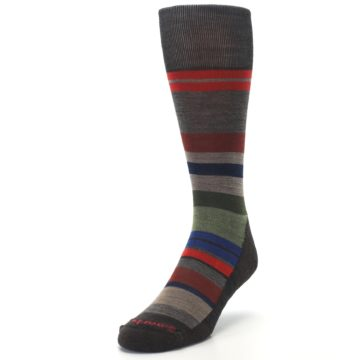 Image of Chestnut Red Green Stripe Wool Men's Casual Socks (side-2-front-07)