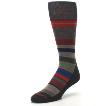 Image of Chestnut Red Green Stripe Wool Men's Casual Socks (side-2-front-08)