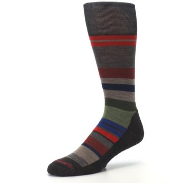 Image of Chestnut Red Green Stripe Wool Men's Casual Socks (side-2-09)