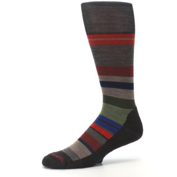 Image of Chestnut Red Green Stripe Wool Men's Casual Socks (side-2-10)