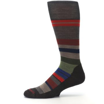 Image of Chestnut Red Green Stripe Wool Men's Casual Socks (side-2-11)