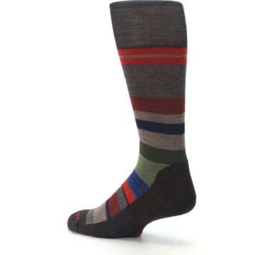 Image of Chestnut Red Green Stripe Wool Men's Casual Socks (side-2-back-14)