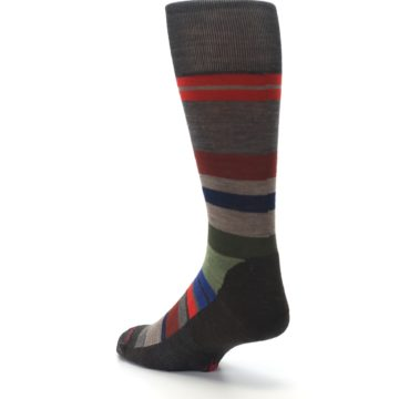 Image of Chestnut Red Green Stripe Wool Men's Casual Socks (side-2-back-15)