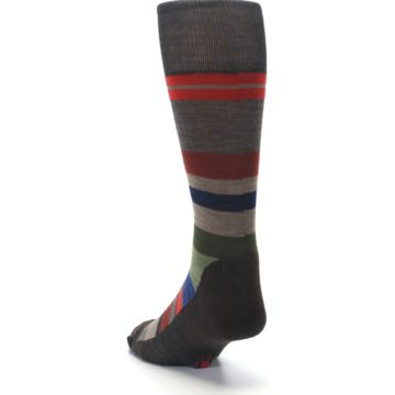 Image of Chestnut Red Green Stripe Wool Men's Casual Socks (side-2-back-16)