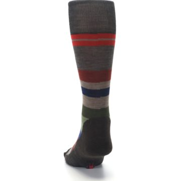 Image of Chestnut Red Green Stripe Wool Men's Casual Socks (back-17)