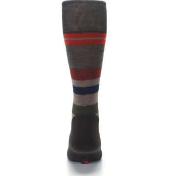 Image of Chestnut Red Green Stripe Wool Men's Casual Socks (back-18)