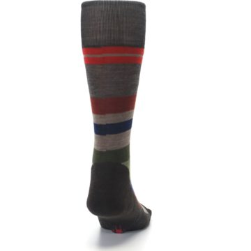 Image of Chestnut Red Green Stripe Wool Men's Casual Socks (back-19)