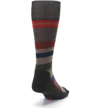 Image of Chestnut Red Green Stripe Wool Men's Casual Socks (side-1-back-20)