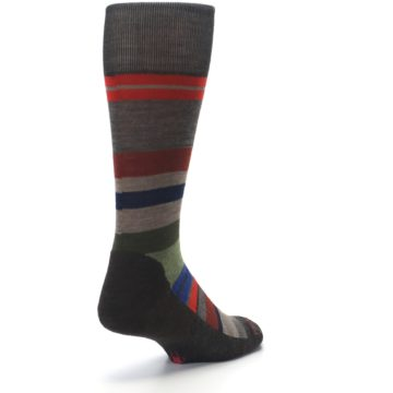 Image of Chestnut Red Green Stripe Wool Men's Casual Socks (side-1-back-21)