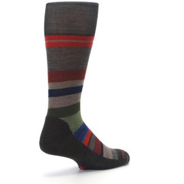 Image of Chestnut Red Green Stripe Wool Men's Casual Socks (side-1-back-22)