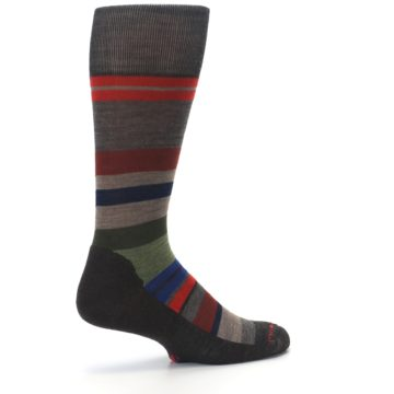 Image of Chestnut Red Green Stripe Wool Men's Casual Socks (side-1-23)