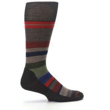 Image of Chestnut Red Green Stripe Wool Men's Casual Socks (side-1-24)