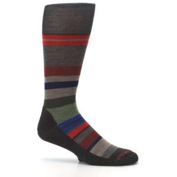 Image of Chestnut Red Green Stripe Wool Men's Casual Socks (side-1-25)