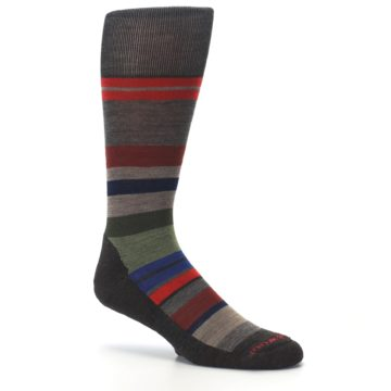 Image of Chestnut Red Green Stripe Wool Men's Casual Socks (side-1-26)
