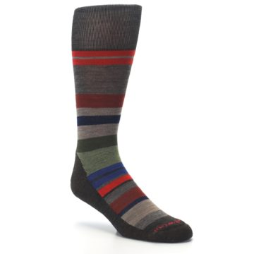 Image of Chestnut Red Green Stripe Wool Men's Casual Socks (side-1-27)